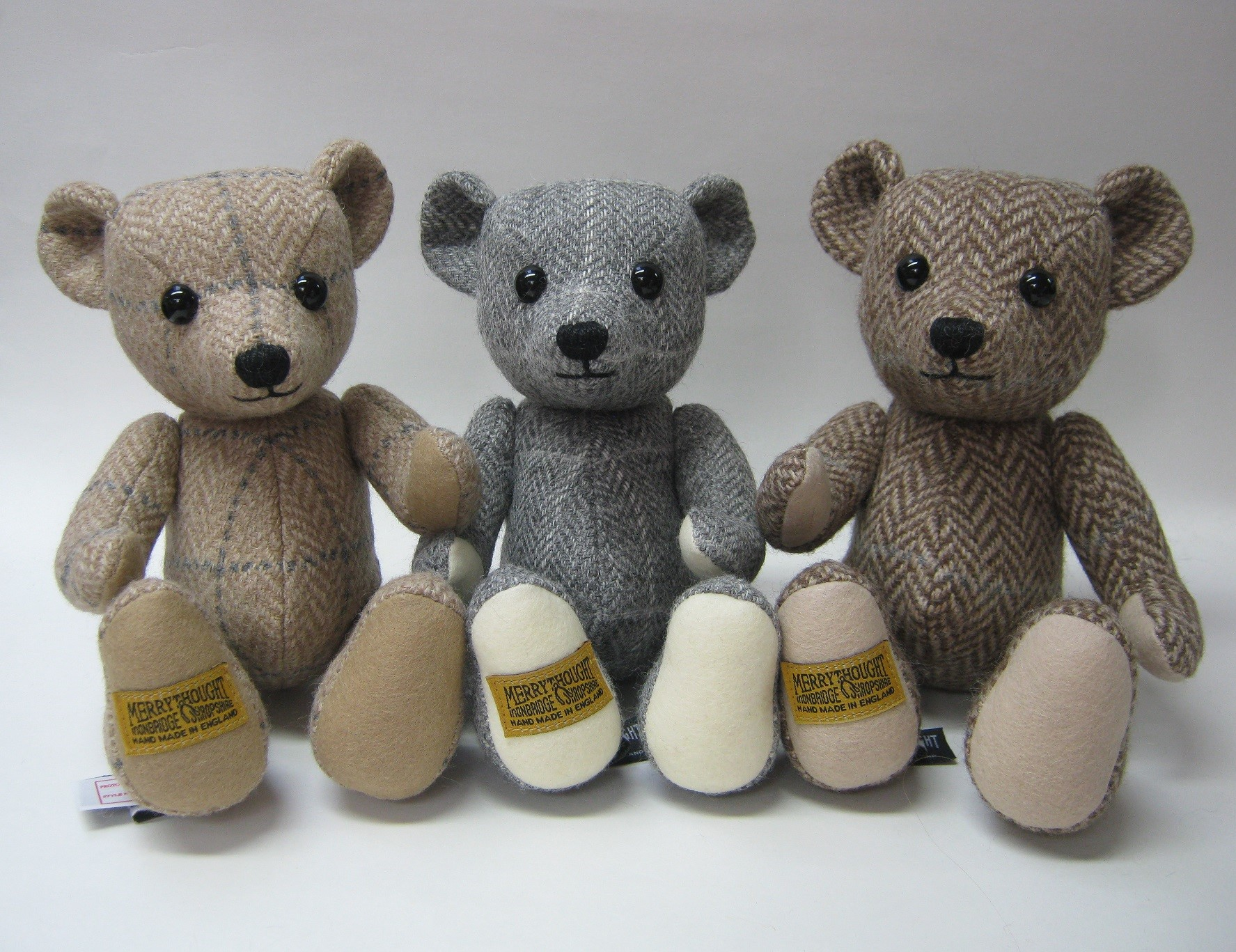 Alpaca Tweed teddy bears made for us by Merrythought Bears.